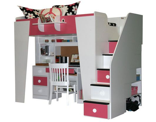 play and study loft bed | Berg Furniture Kids Headquarters Loft with Study Area (Full Size)