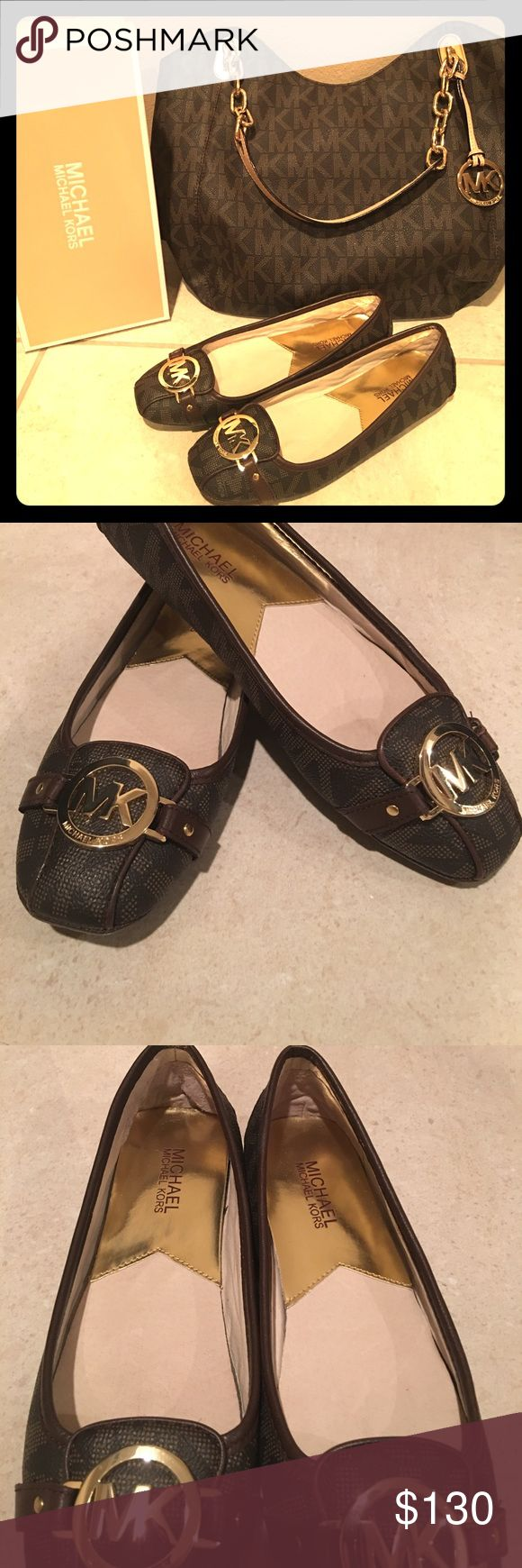 Michael Kors Brown Futon flats Used only a few times they are like new! In excellent condition they are a size 7 1/2 and are too tight for me therefore I am selling them! They are beautiful but they are painful for me! Price is negotiable! Please use offer button and no low balling please! MICHAEL Michael Kors Shoes Flats & Loafers