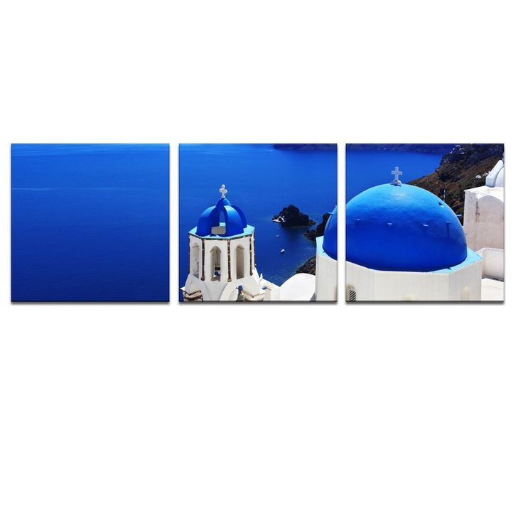 FREE SHIPPING Famous Greece Architecture,Aegean Sea Landscape Canvas Print,Gorgeous Blue Lighten Your Room(Unframed)50x50cmx3pcs
