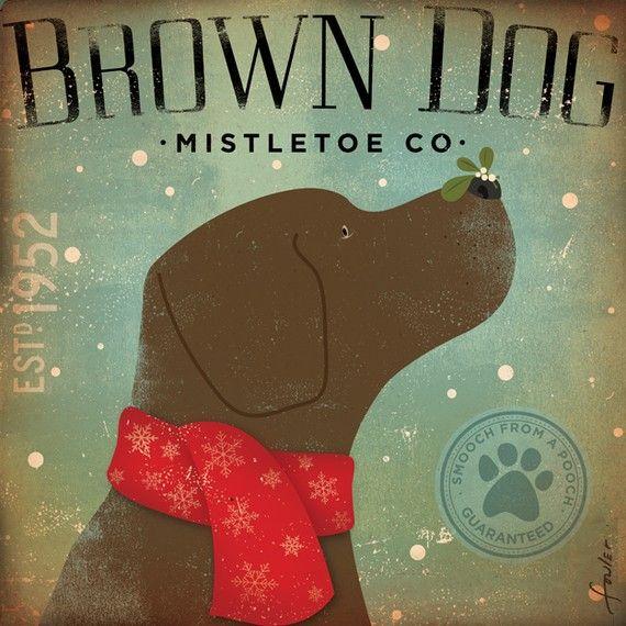 Brown Dog Mistletoe Company chocolate lab graphic by geministudio, $24.00