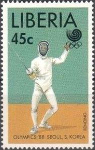 Stamp: Fencing (Liberia) (Summer Olympics Seoul) Mi:LR 1426