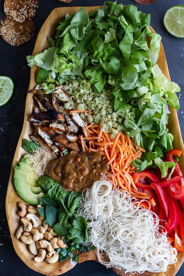 Vietnamese Chicken, Avocado + Lemongrass Spring Roll Salad With Hoisin Crackers.