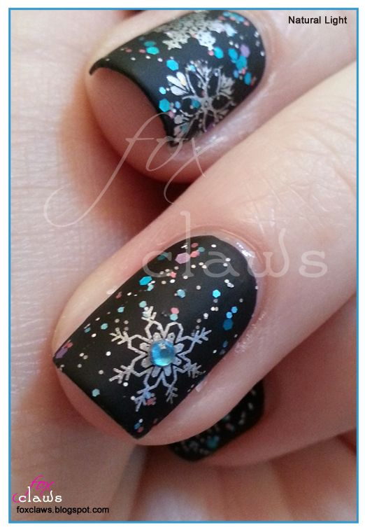 Too Cute-icle - Pretty Pretty Princess over black, matte topcoat, stamped with Konad plates m59 and m20 and Pure Ice - Silver Mercedes.