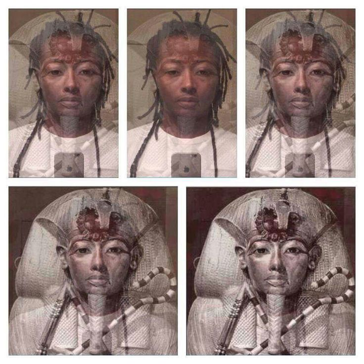 King Tutankhamen, crossed with the face of an African man who claims to be a distant descendant of Tutankhamen, remarkable. Well, lookey lookey, the descendant is a PERSON OF COLOR...ya don't say.