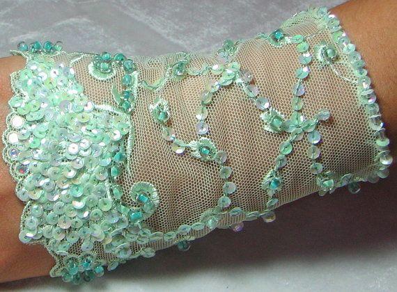 OOAK Hand Beaded Lace Cuff in Mint Green