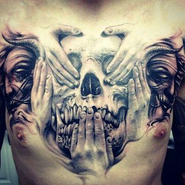 See No Evil - Hear No Evil - Speak No Evil Amazing 3D Tattoo  https://plus.google.com/u/0/115375559554617004724/posts