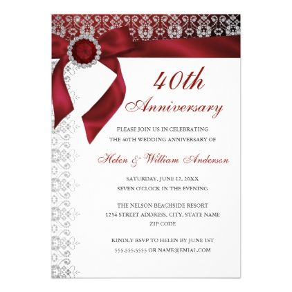 Ruby Red Bow 40th Wedding Anniversary Invitation
