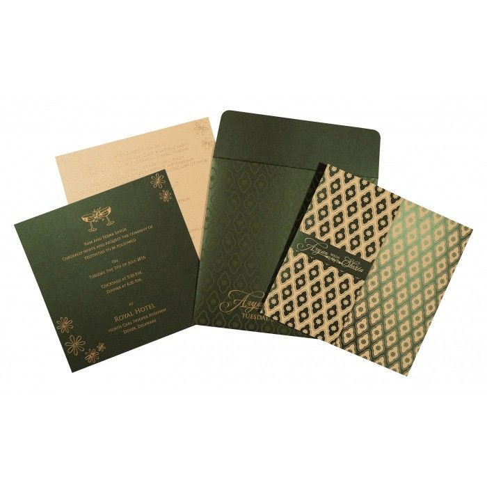 how to write muslim wedding invitation card%0A Green shimmery screen printed wedding invitations   w    g