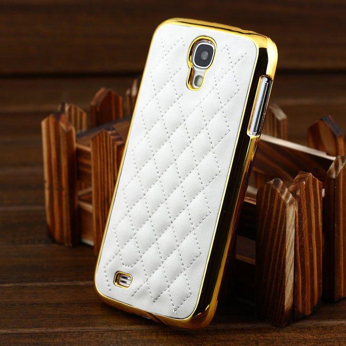 NEW Designer Leather Gold Chrome Hard Case Cover For Samsung Galaxy S4 I9500  #samsung #samsungmobile