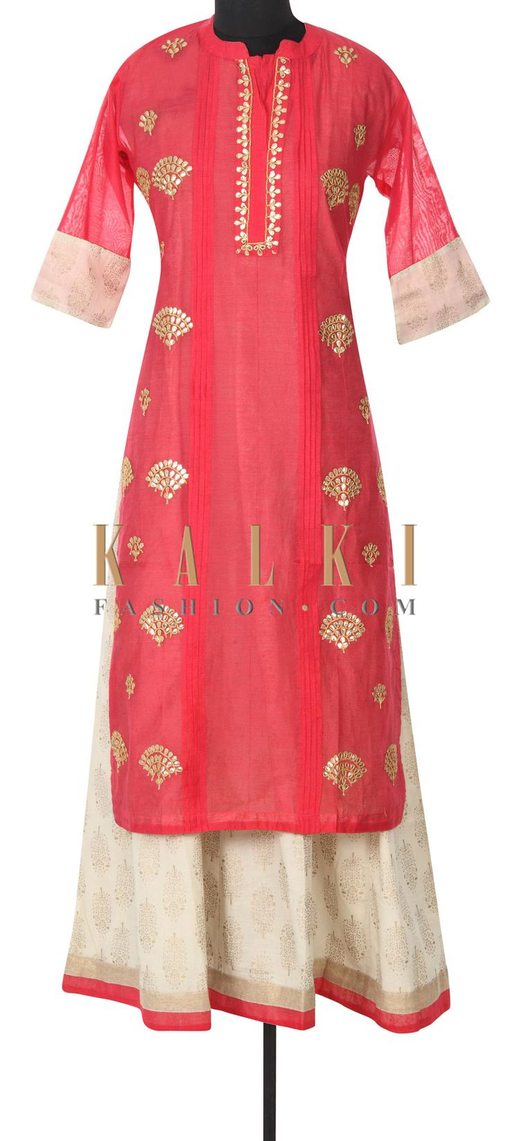 Buy this Pink and cream kurti adorn in gotta patch embroidery only on Kalki