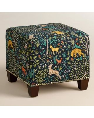Featuring colorful folk art animals in a woodland scene, our plush, custom-made ottoman is handcrafted in the U.S.A. with 100% cotton upholstery and nail trim. Pair two ottomans at the foot of a bed for dramatic seating and coordinate with our bed or headboard in the same custom fabric for a pulled together look.