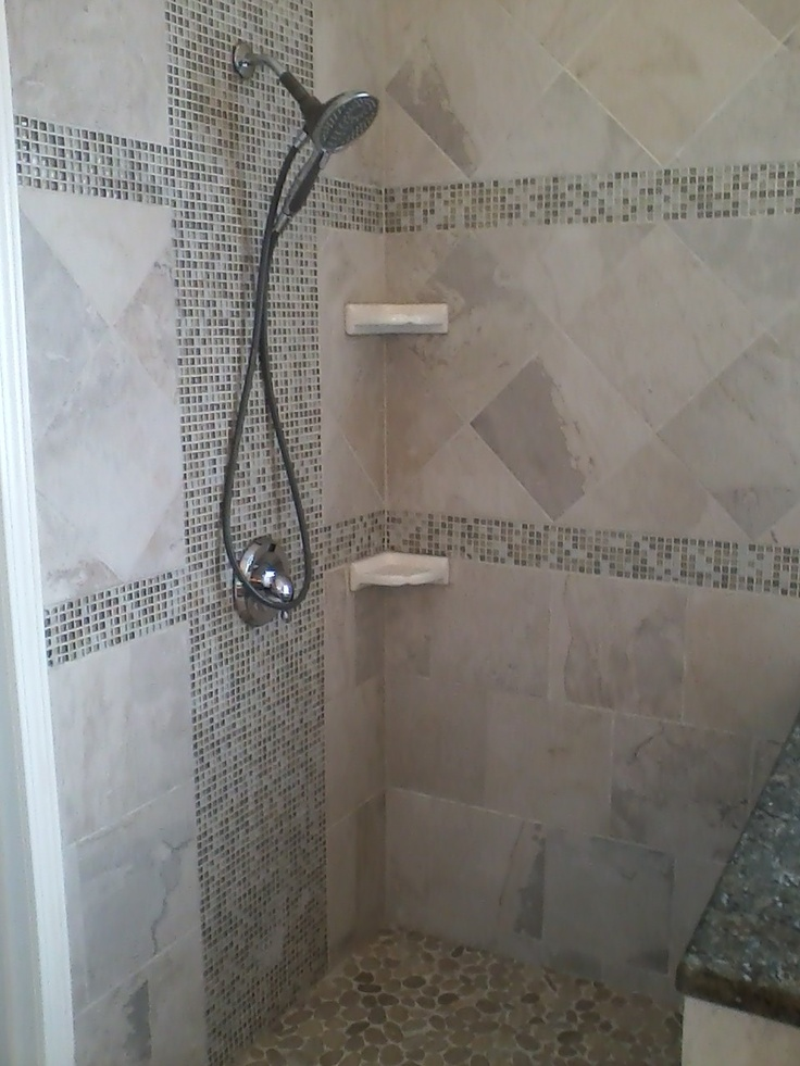 Gallery One New custom master bathroom shower with glass mosiac tiles Floor tiles are mosaic pebbles