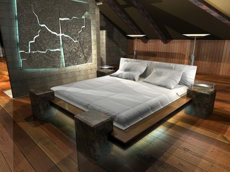 Cozy small attic bedroom ideas with white bedding set plus wooden platform bed plus led lighting underneath including art frame on the wall