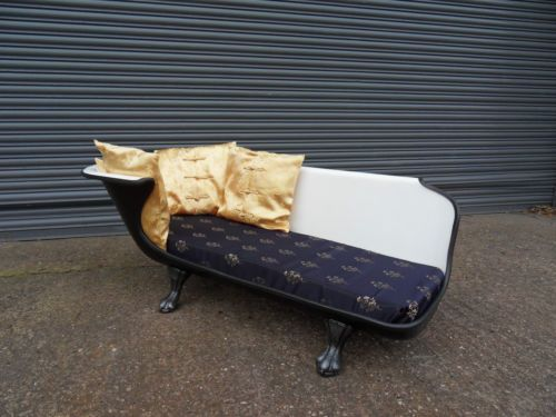 Details about vintage victorian cast iron roll top bath for Bathroom chaise lounge