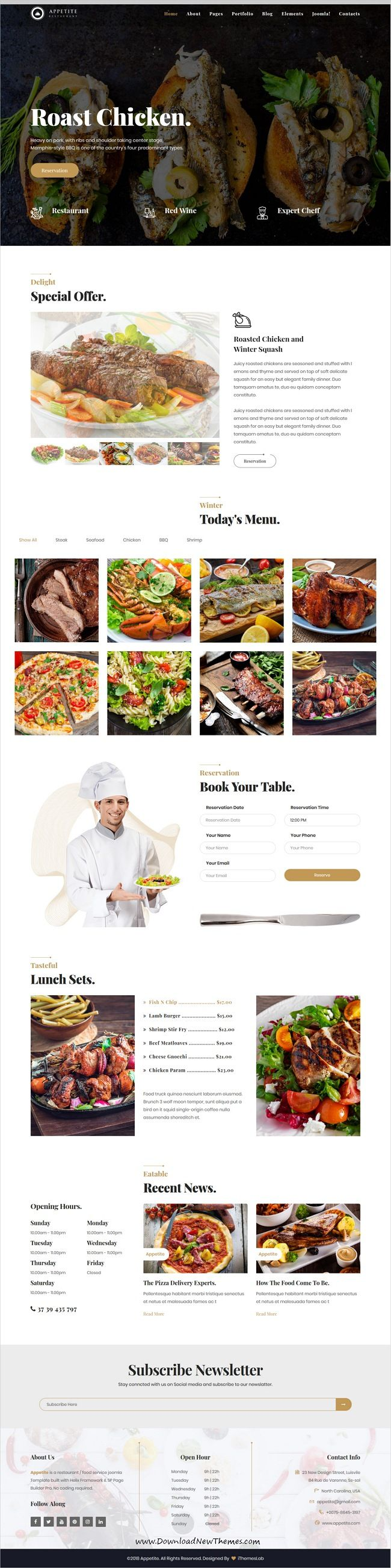 Appetite is clean and modern design 5in1 responsive Joomla #theme for #restaurants, cafe and #food service website to live preview & download click on Visit 👆