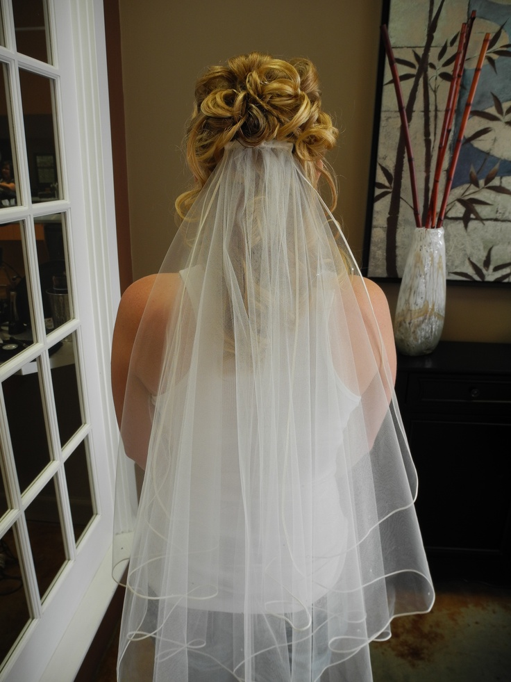 Bridal Hair with Veil by Caity