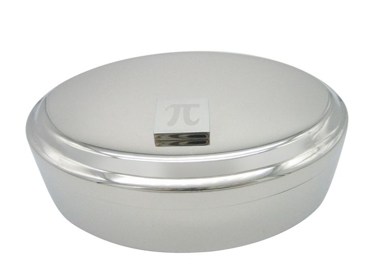 Silver Toned Etched Mathematical Pi Symbol Pendant Oval Trinket Jewelry Box