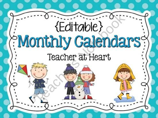 free editable monthly calendars