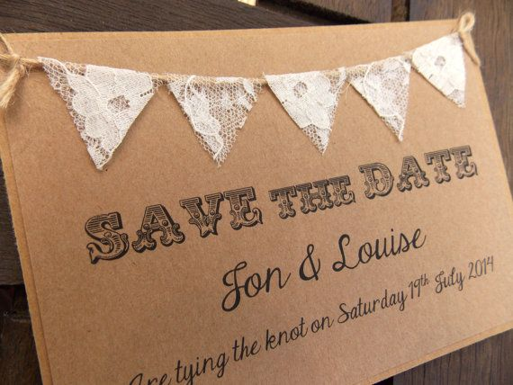 Save The Date Lace Bunting Wedding Invitation, Country Fete Rustic Summer Wedding Kraft Card