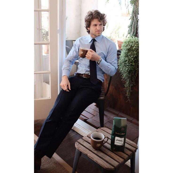 PLL actor Keegan Allen enjoying a cup of coffee
