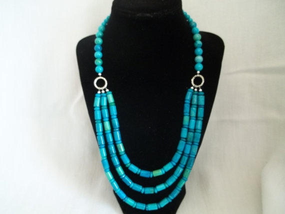 3 strand Azurite necklace by Beadit669 on Etsy, $45.00