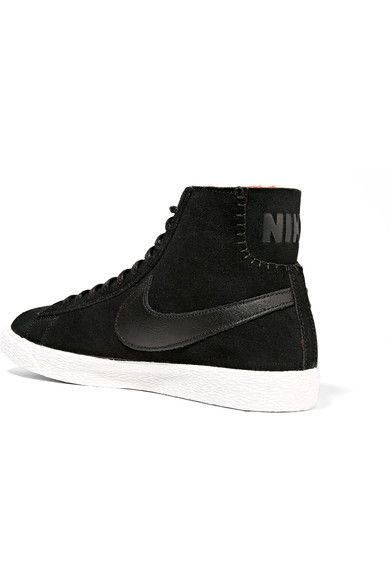 Nike - Blazer Mid Suede And Shearling High-top Sneakers - Black - US10.5