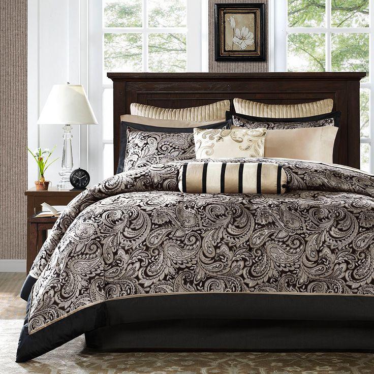 Madison Park Wellington Black 12 Piece Complete Bed Set By Madison Park