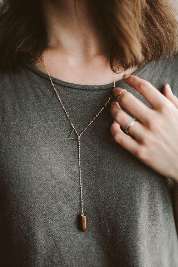 Tigers Eye Gemstone Necklace by LaedaCo on Etsy