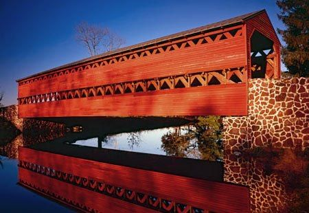 "~ ""Twilight at Sachs Covered Bridge"" ~ Originally built in 1854 ~ Gettysburg, Pennsylvania ~♥"