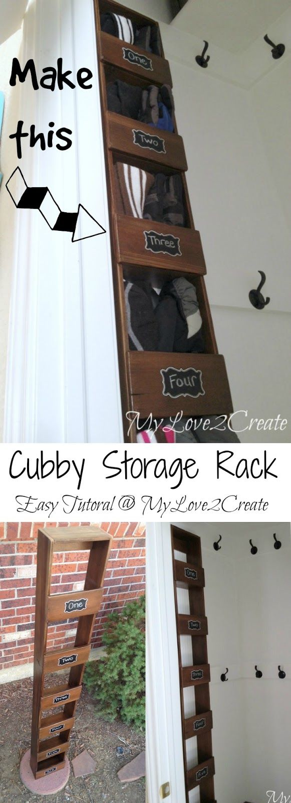 A super easy tutorial to make a cubby storage rack.  What a great way to store your kids hats and gloves.  I need this!!  - at MyLove2Create