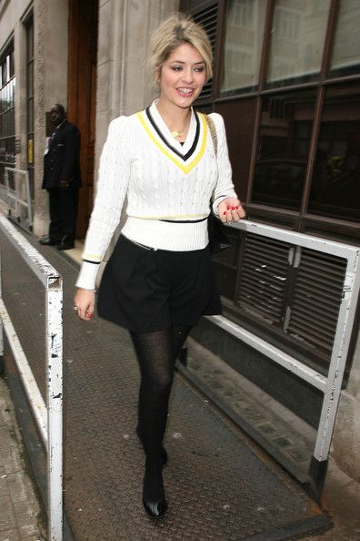 Holly Willoughby leaves BBC Radio one studios in London wearing a fashionable Fred Perry #cricket-style sweater.