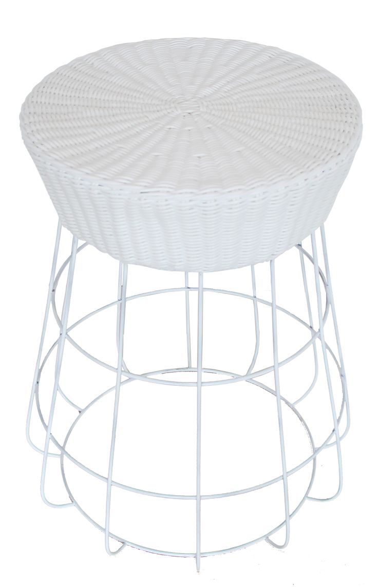 NEW IN: Circular rattan and wire stools in WHITE - waterproof with waterproof cushions. From $140RRP AUD.    http://www.philbee.com.au/white-iron-chair-with-hand-woven-rattan.html