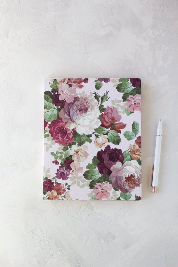 Rose Wine Garden Floral Large Lined Notebook w/ Rose Gold