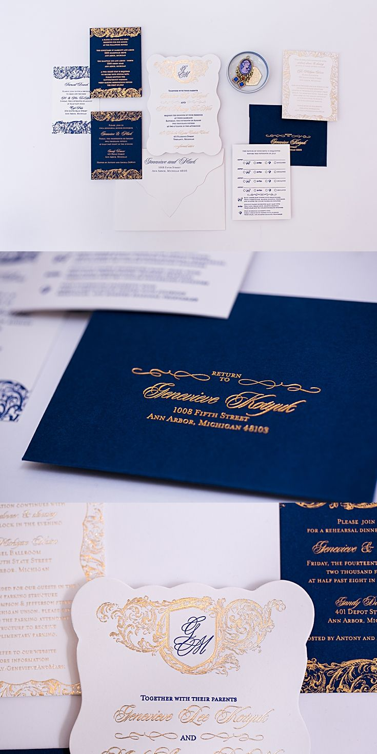 reply to wedding invitation m%0A Designed for a U of M Michigan wedding  these navy and gold invitations  were u
