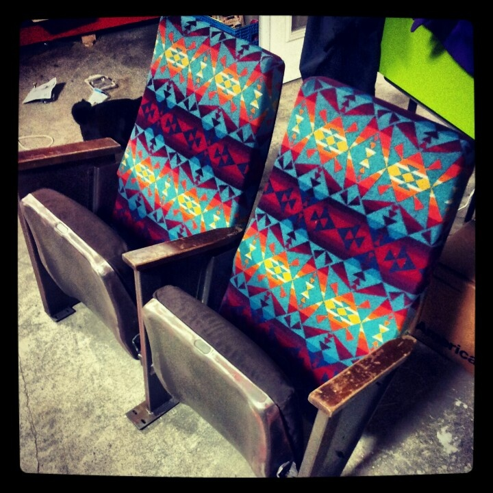 Vintage theater seats with Pendleton wool upholstery. Created for Akkolade snow & skate in Happy Valley, OR.