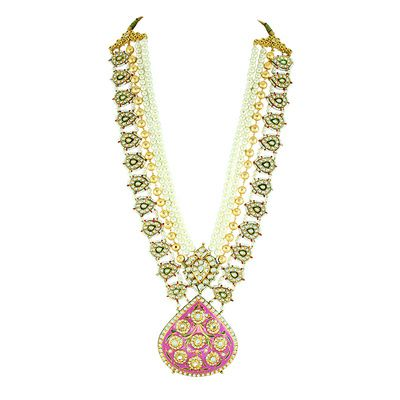meenakari necklace, pink meenakari necklace, long raani haar ,