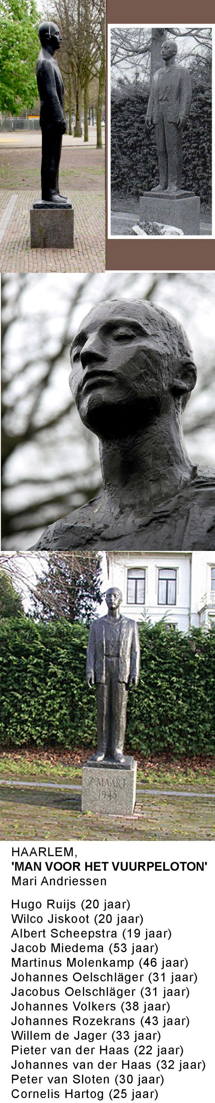 """Man voor het vuurpeleton. De Dreef, Haarlem. """"In al zijn eenvoud Groots"""".  Ref. http://nl.wikipedia.org/wiki/Represaille_de_Dreef_%28Haarlem%29 Film: http://www.beeldengeluid.nl/media/6081/beeldhouwer-mari-andriessen-80-jaar"""