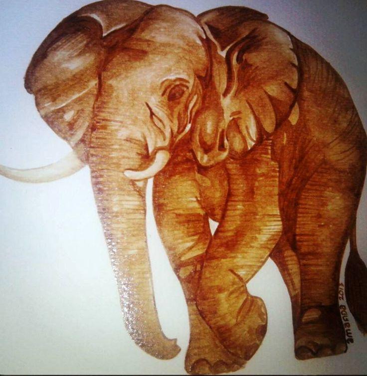 coffee painting - elephant by AmandaZulkifli on DeviantArt