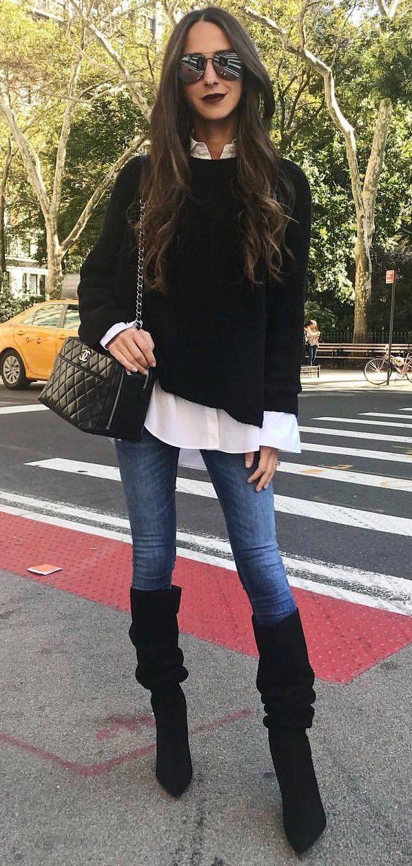 #fall #outfits <b>women's black</b> long-sleeved shirt, blue skinny jeans ...
