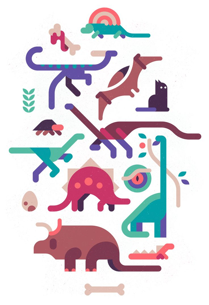 Dinos and a fearless cat on Behance