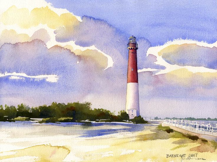 Barnegat Lighthouse . watercolor . illustration
