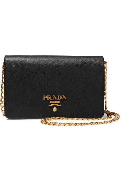 Prada - Wallet On A Chain Textured-leather Shoulder Bag - Black - one size