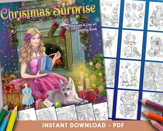 Pdf Coloring Book Christmas Surprise Grayscale Line Art Etsy Coloring Books Christmas Coloring Books Line Art
