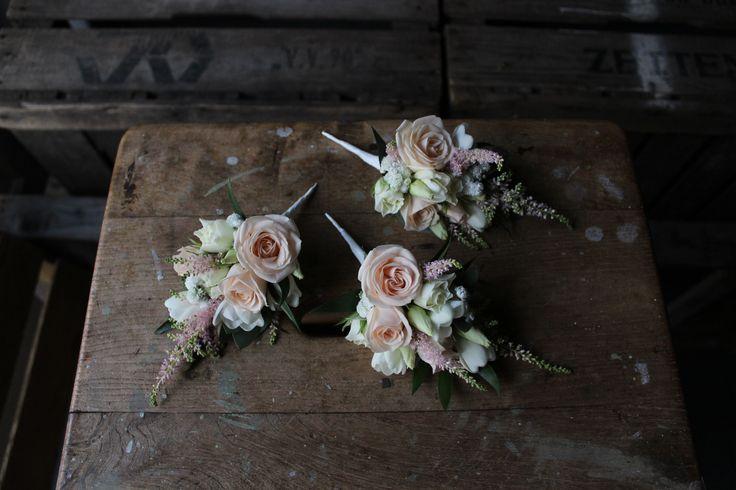 Blush Floral Corsages. www.theflowermilldraycott.co.uk