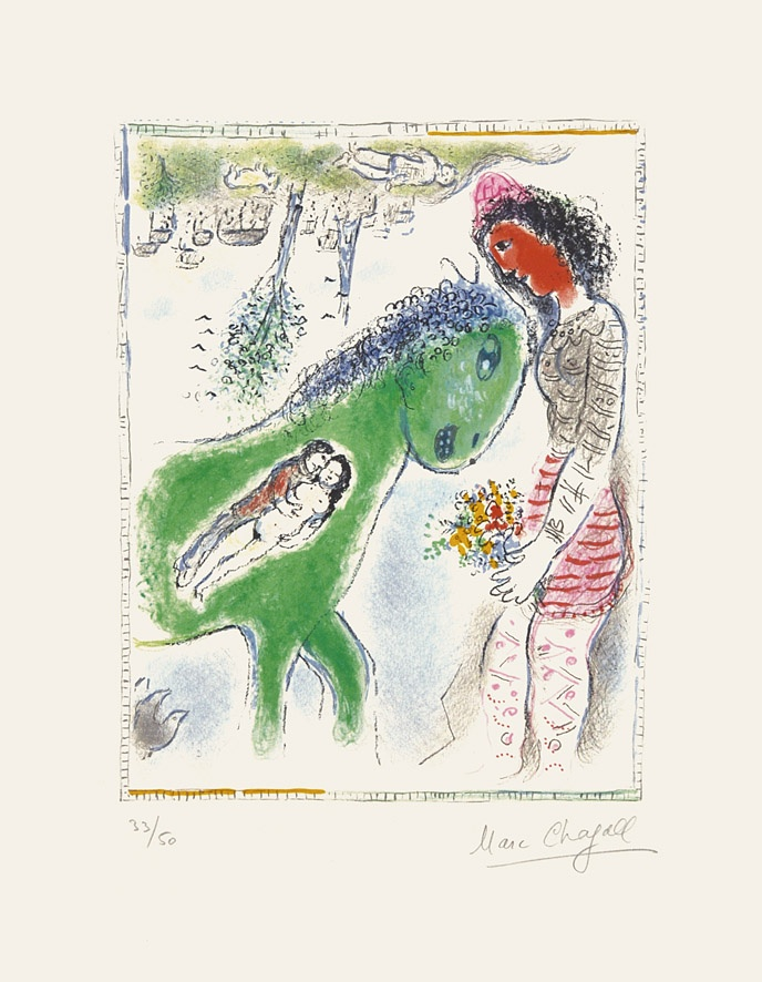 Le cheval vert (The Green Horse), 1973, Lithograph, Marc Chagall, Chali-Rosso Gallery
