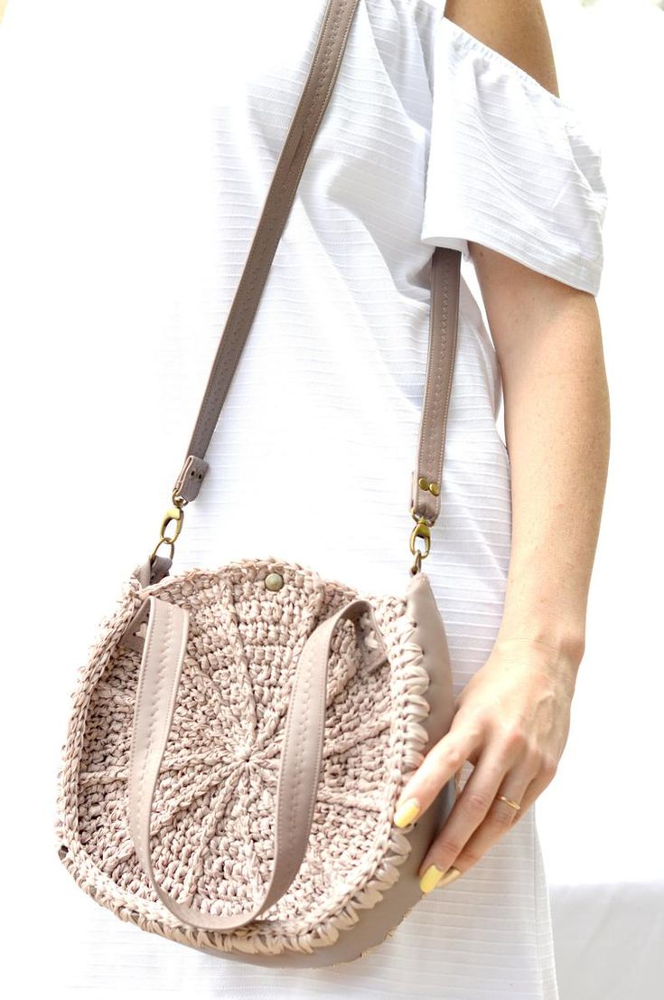 Tan vegan handbag Crochet round purse Women crossbody bag | Etsy