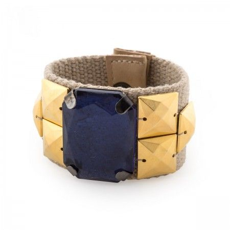Bangle Bracelet in fabric with studs, and oversized resin stone, leather trim, hand sewed and hemmed.