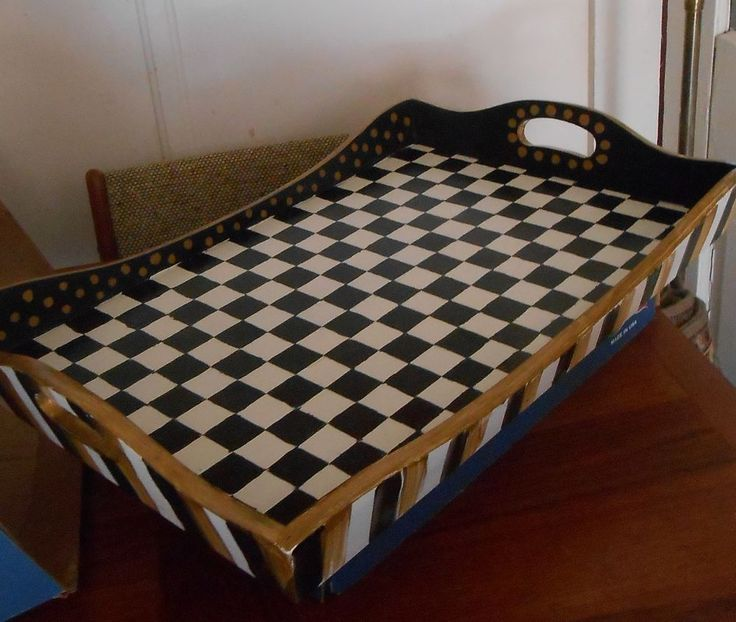 BIG BLACK WHITE CHECK TRAY WITH MACKENZIE CHILDS COURTLY CHECK NAPKIN