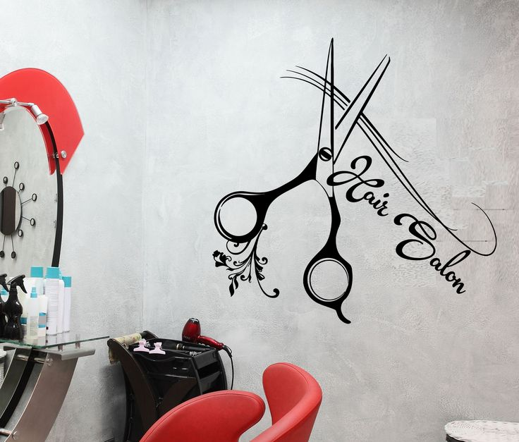 Vinyl Wall Decal Haircut Scissors Beauty Hair Salon Signboard Stickers (2039ig)