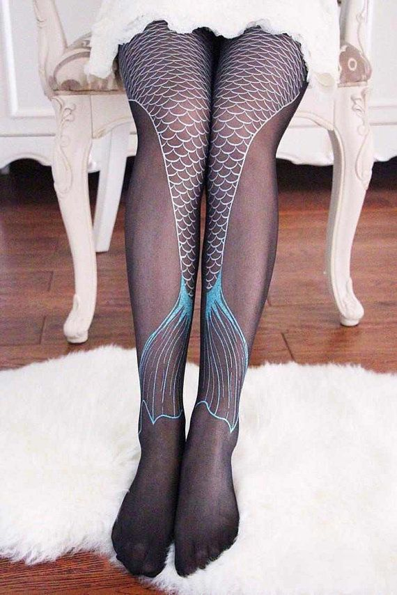 Mermaid Tail Stockings / Tights / Pantyhose in Silver and